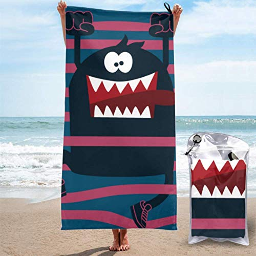 Toallas de secado rápido para viajes Diseño de personajes de monstruos lindos Toalla de playa para hombres Toalla de playa para dama Ligero, de secado rápido y absorbente para acampar, viajar, playa,