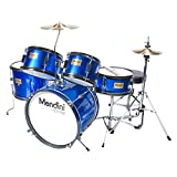Mendini by Cecilio 16 inch 5-Piece Complete Kids/Junior Drum Set with Adjustable Throne, Cymbal,...