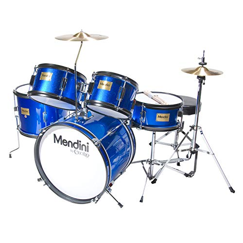 Mendini by Cecilio 16 inch 5-Piece Complete Kids/Junior Drum Set with Adjustable Throne, Cymbal, Pedal & Drumsticks, Metallic Blue, MJDS-5-BL