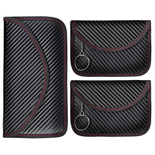 Tyhbelle Keyless Go Schutz Autoschlüssel RFID Blocker Funkschlüssel Abschirmung Signalblocker Faraday Strahlenschutz Tasche Etui Schlüsseletui Car Key Safe Schutzhülle (1 Größ + 2 klein)