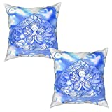Gggo 2 Piezas Fundas de Cojines devocional Azul Suave Almohada Decorativo para Habitacion Sofá Dormitorio Oficina Sala-45x45cm