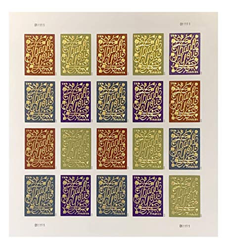 Forever Stamps - Thank You - Use as Postage or for Stamp Collector - Standard Sheet of 20