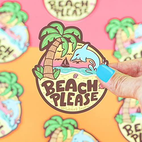 Beach Please Funny Vinyl Sticker
