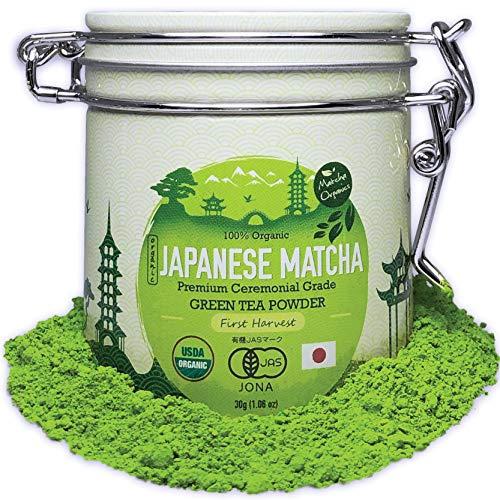 Premium Japanese Ceremonial Grade Matcha Green Tea Powder - 30g Tin [1.06oz] - 1st Harvest HIGHEST GRADE - USDA & JAS Organic - Perfect for Matcha Ceremonial Latte, Shake, Smoothies & Baking