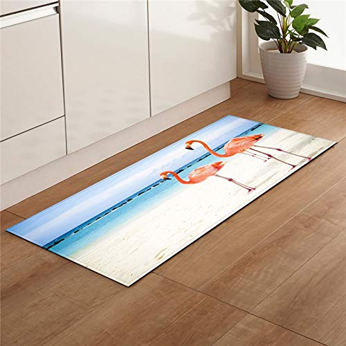 HLXX Alfombra de playa de piedra de impresión antideslizante para cocina, salón, balcón, baño, alfombra para puerta A6, 60 x 90 cm