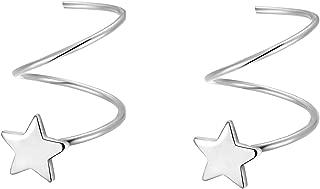 925 Sterling Silver Star Earrings for Women Teen Girls Fashion Star Wrap Earrings