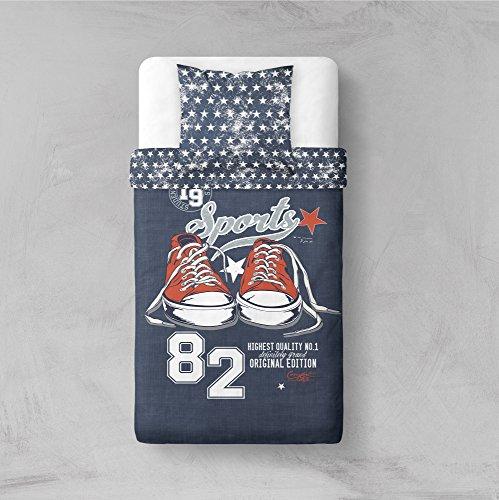 TODAY Parure de Lit Dessin Sport Edition, Polyester, Blanc/Gris, 200x140 cm