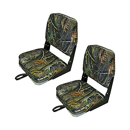 Fishing/Hunting Low Back Fold-Down Boat Seat,2Packs Color Camo/Grey/Blue