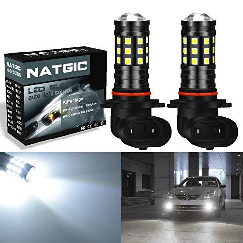 NATGIC H10 Ampoule LED Blanc Xenon 2700LM 6500K 3030 27SMD avec Projecteur d'Objectif pour Ampoules de Feux de Brouillard DRL Feux de Jour 12V-24V (Paquet de 2)