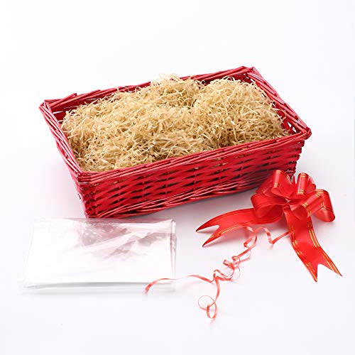 woodluv CREATE YOUR OWN - Wicker Gift Hamper Basket Kit for Wedding, Baby Shower or Birthday Gift - 42 x 29 x 12cm