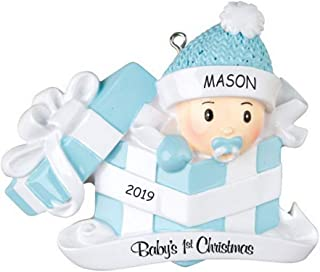 DIBSIES Personalization Station Personalized Baby in Present First Christmas Ornament (Blue)