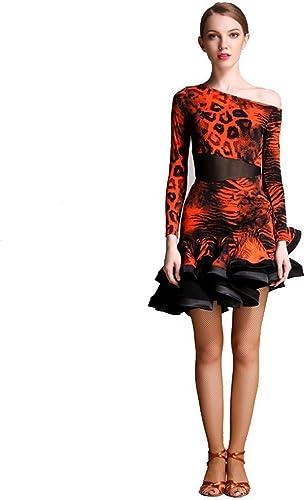 JTSYUXN Adulte Professionnel Robes De Danse Latine Imprimé Léopard Jupe Rumba Tango Costume De Perforhommece à Manches Longues Danse Sociale (Couleur   Orange, Taille   L)