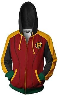 Mens Womens 3D Hoodie Anime Print Pullove Zipper Jacket Superhero Robin Damian Hooded Sweatshirt Cosplay Costume