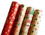 Premium Weihnachts Geschenkpapier Retro Ökologisches Recycling Papier 4 Rollen a`2m x 70cm Natur Geschenkverpackung für Weihnachten Kraftpapier