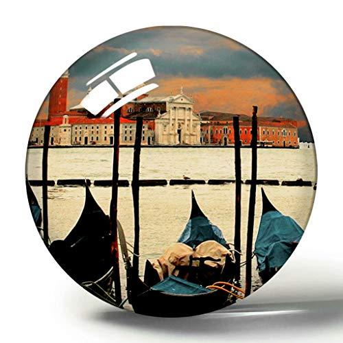 Hqiyaols Souvenir Italia Venecia Góndolas Canal Grande 3D Imán de Nevera Colección de Recuerdos Regalo de Viaje Círculo Cristal Imanes de Nevera