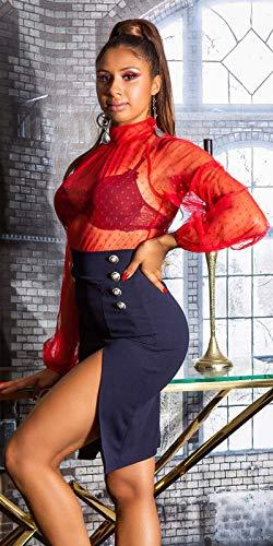 Koucla Falda de lápiz para mujer con abertura y botones decorativos. marine S