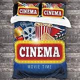 LINARUBE Juego de Ropa de Cama-Película Azul Cine Palomitas Bebidas Aplaudir Cinematografía Realista Rollo de película,Juego de Funda Nórdica y 2 Funda de Almohada(Super 220x260cm)