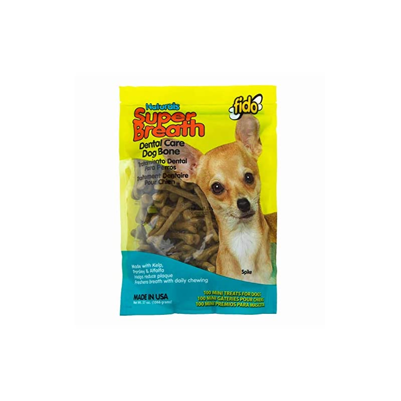 dog supplies online fido super breath dental care bones for dogs, made with kelp, parsley and chlorophyll - naturally freshens breath, reduces plaque and whitens teeth - 100 mini treats per pack