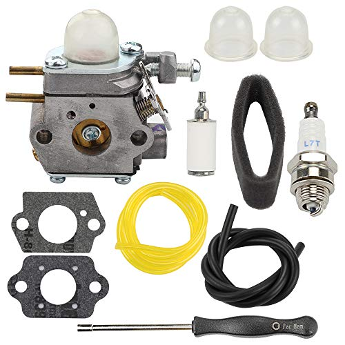 Carburetor for Troy-Bilt TB80EC TB32EC YM21CS TB21EC TB22EC TB2040XP TB22 2 Cycle String Trimmer Gas Craftsman Weed Eater Whacker 27CC Replaces # WT-973 MTD 753-06190 with Tool Fuel Line Filter