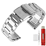 Stainless Steel 20mm Watch Band Replacement Polished Watch Strap Bracelet with Fold Over Clasp Double Buckles Men's Watch Bands Silver