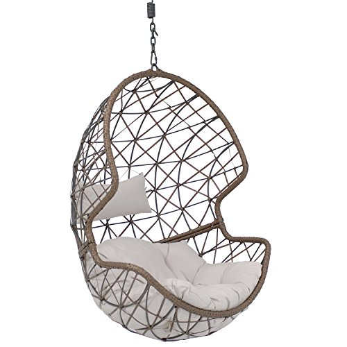 Sunnydaze Danielle Hanging Egg Chair Swing, Resin Wicker Basket Design, Outdoor Use, Includes Gray Cushion