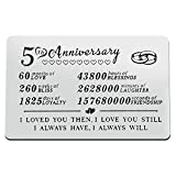5 Year Anniversary Wallet Card Engraved Wallet Insert Card 5 Year Anniversary Card for Husband Wife for Him Her Valentine's Day Jewelry Wedding Anniversary Card 5th Anniversary Couple Gift