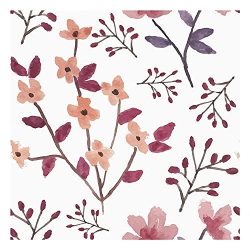 Vinilo Decorativo para Muebles y Pared, 45 x 500 cm, Cerezos en Flor, Color Rosa y Fucsia, Fondo Blanco, VNL-056