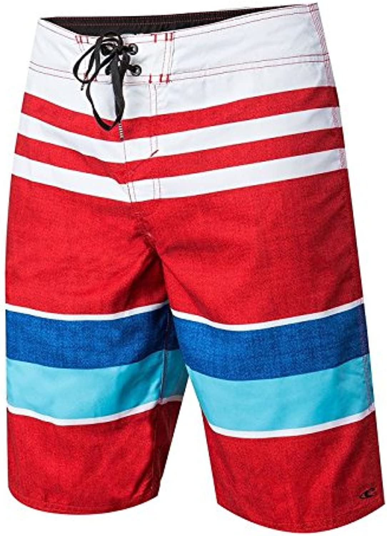 O'Neill Men's Avalon Comfort Board Shorts, White Red Stripe, Size 30