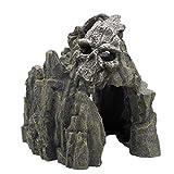 HUAYING Adorno para acuario de Halloween con calavera, paisajismo, rocosa, montaña, pecera, adorno creativo para casa, cueva, estanque
