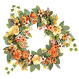 YLSZHY Artificial Peony Flower Wreath, 15.7 Inches Front Door Wreath Silk Peonies Daisy Wreath for Spring Summer Wedding Party Home Decor