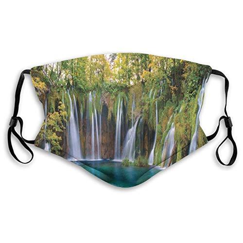Foto de la naturaleza con muchas cascadas pequeñas en el bosque, increíble escena al aire libre impresión cara M-A-S-K, bandana lavable para adultos hombres mujeres