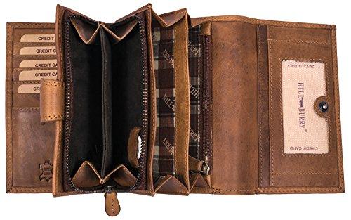Hill Burry hochwertige Leder Geldbörse | Langes Portemonnaie aus weichem Vintage Leder | XXL Großes Portmonee | Echtes Leder - RFID (Braun)