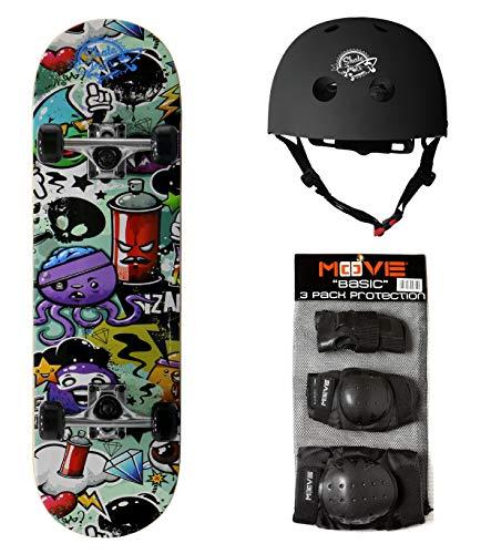 skateboard junior Set Skatemax Junior Skateboard + Caschetto + Protezioni Modelli per Bambini da 9 Anni a 10 Anni (Engraved)