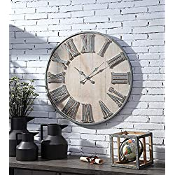 CC Home Furnishings 30.25 Beige and Gray Galvanized Rustic Clock Wall Decor