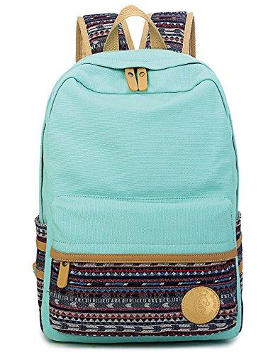 Leaper Casual Canvas School Backpack Bookbag Laptop Bag Travel Bag Water Blue