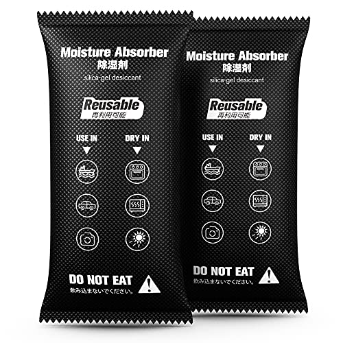 REEMKIZZ Moisture Absorber, Reusable Dehumidifiers Bag 2 Packs x 1000 Grams(2.2lb x 2) Silica Gel Desiccant Packets Large Humidity Packs for Closet, Safes, Camera Bags, Cars and Enclosed Space