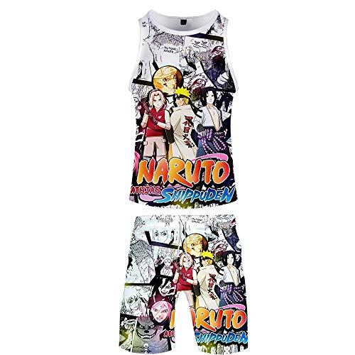 Ga-yinuo Herren Schlafanzug Pyjama Herren Strandshorts Männer 2-Teiliges Set Pyjama Damen Freizeitkleidung Trainingsanzug Kurzarm Shorts Anzug Anime Naruto,L