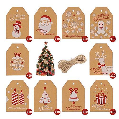 Etiquetas de regalo Navidad, Navidad Etiquetas de Papel Kraft, Etiquetas de regalo colgantes con cuerdas de yute perfecto para manualidades y decoración de regalo (100pcs)