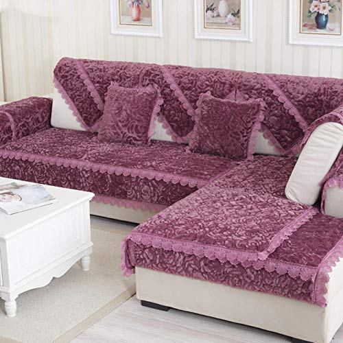 HXTSWGS Funda de sofá de Felpa Gruesa Fundas de Toalla Sofás con Fundas de sofá de Esquina Chaise Longue para Sala de Estar Funda de Almohada Antideslizante-Purple_45x45cm
