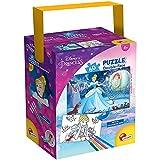 Liscianigiochi- Puzzle in a Tub Doble Cara con Reverso para Colorear 60 Piezas con 4 rotuladores incluidos Disney Princesas Puzle para niños, Multicolor (86191)
