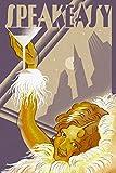 Speakeasy, Flapper Girl (9x12 Art Print, Wall Decor Travel Poster)