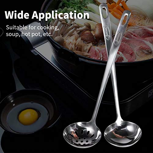 """Newness 2 Pcs Slotted Spoon and Soup Ladle, 304 Stainless Steel Cooking Skimmer Cookware Utensil, Thickening [Non-Bending] Long Handle for Serving & Scooping Sauces, Gravy and More, 9.8""""(L) X 2.5""""(D)"""