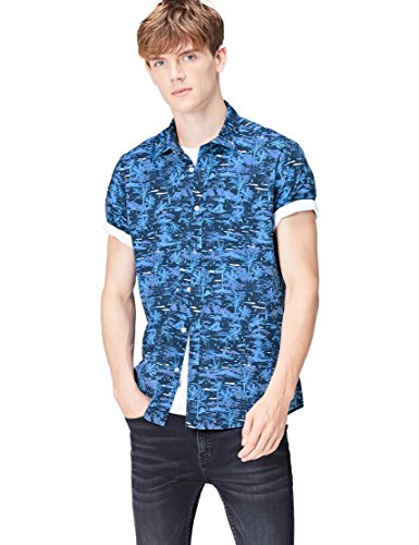 Marca Amazon - find. Camisa Hombre, Azul (Blue Palm), XL, Label: XL