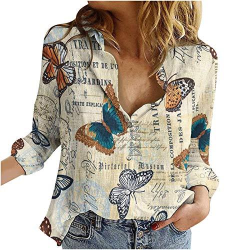 Finebo Camiseta con Cuello en V para Mujer, Camisetas de Manga Larga con Cuello Vuelto, Estampado Informal, Camisetas Sueltas, Camiseta, Blusa, suéter
