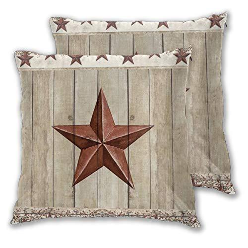 DECISAIYA Kissenbezüge 2er-Pack,Rustikaler Scheunenstern auf Holztür Western Texas Star und Primitive Beeren auf Land Holzplanke,Dekorative Quadrat Kissenhülle für Sofa Schlafzimmer 65x65cm
