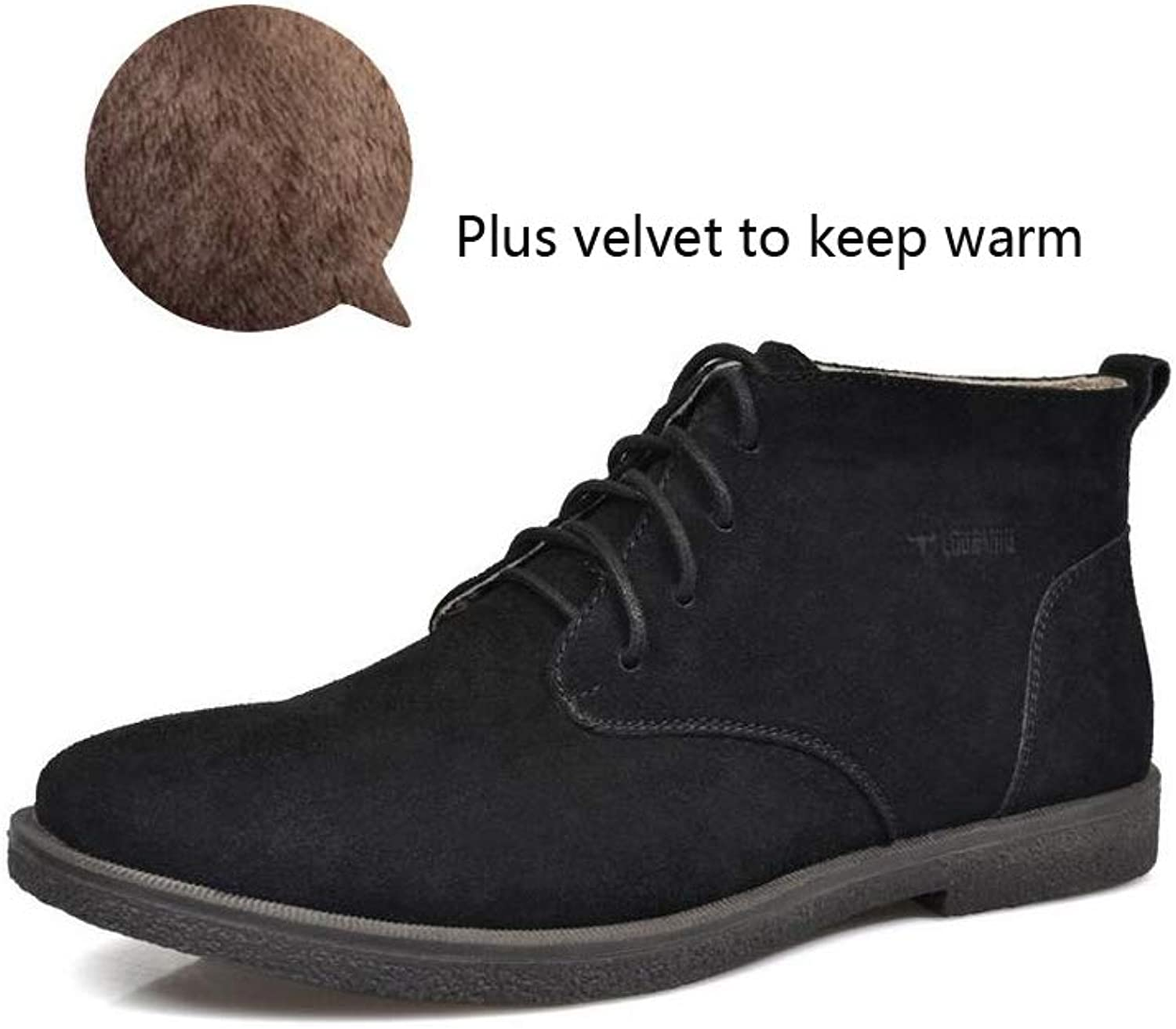 Punk Style New Desert Boots Scrub Leather shoes Extra Large Martin Boots Boots High Top shoes Black