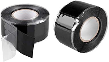 QISF Multi-purpose 2 Rolls Black Repair Sealing Insulation Tape, Silicone Self Fusing Tapes Amalgamation Rubber Tapes For Emergency Pipe Plumbing & Water Hose Leaks, Electrical Cords, Strech, Wrap & S