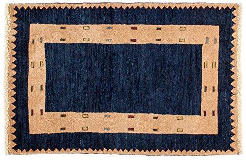 Lifetex.eu Hochwertiger Orientteppich Kashkuli-Muster (ca. 85x125 cm) Klassisch handgeknüpft Schurwolle Blau Brücke