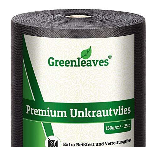 Greenleaves Anti-Unkrautvlies 150g/m² auf praktischer Rolle 25m x 1m = 25m² I Gartenvlies mit sehr hoher UV-Stabilisierung extrem reißfeste Unkrautfolie - besonders wasserdurchlässig