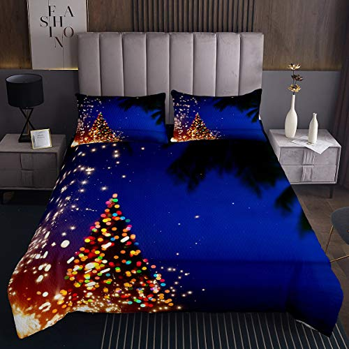 Homewish Navy Blue Sea Quilted Coverlet Colorful Christmas Trees Decor Bedspread Polyester Coverlet Set 2pcs for Kids Teens Microfiber Bedding Set (1 Bedspread + 1 Pillow Case) Twin Size
